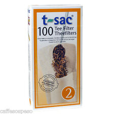 T-Sac Disposible Paper Loose Leaf Tea Filter Bags 100 Count / Size 2