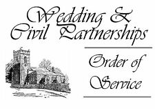 20 Wedding Order of Service Card Front - One Page Paper Insert