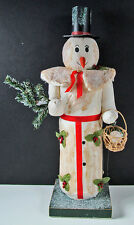 """Christmas 60045 Snowman Candy Container 15"""" Teena Flanner Never Used -Excellent!"""