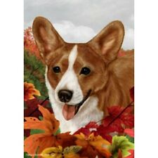 Fall Garden Flag - Red and White Cardigan Welsh Corgi 132431