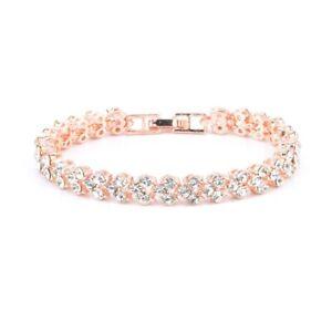 Womens Silver Crystal Diamante Bracelet Rose Gold Heart Bangle Bridal Love Gift