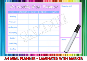 Weekly Meal Planner Laminated - Home Family Kids Food Planner - A4 Wipe Clean