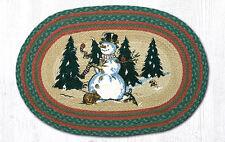 "WINTER SNOWMAN 100% Natural Braided Jute Rug, 20"" x 30"", Capitol Earth Rugs"