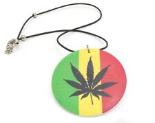 Necklace with Herb Design Rasta Color Pendant