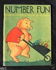 Vintage 1932 Coloring Book NUMBER FUN Ill. by Eileen Fox (Vaughan) Unused