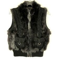Damselle New York Rabbit Fur Cable Knit Vest Womens M Brown Ribbed Knit Zipper