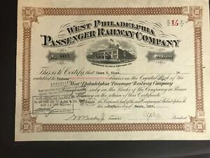 Vintage 1929 West Philadelphia Passenger Railway Company Stock Certificate