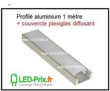 profilé aluminium led + couvercle plexiglas diffusant 1 mètre