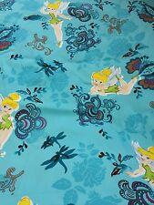 Disney Tinkerbell blue print polycotton fabric fat quarter