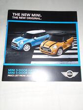 Mini 3 door & 5 door Hatch price list brochure Jul 2014
