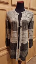 Kim Rogers Black/Grey Colorblock Toggle Button Long Cardigan Sweater, M - $58