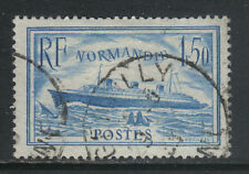 France 1935 SS Normandie pale blue--Attractive Ship Topical (300a) fine used