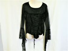 "BLACK GOTHIC LACE UP TOP, MESH SLEEVES S 12 to 14 AUZ  ""NWT"" RRP $55 .C18"