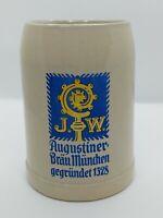 """J.W. Augustiner Brau Munchen Gegrundet 1328 German Beer Mug/Stein (5.25"""") 0.5 L"""