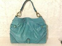 """Steve Madden""carry-all turquois/bl gen.soft distress leather leightweight hobo"