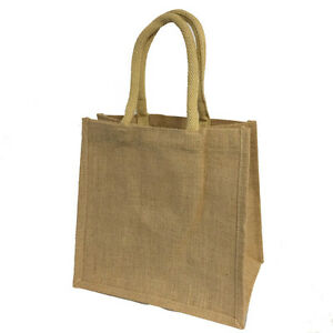 Plain Jute Bags (medium) 30x30x19cm (5 pack) - Hessian Bags - padded handles