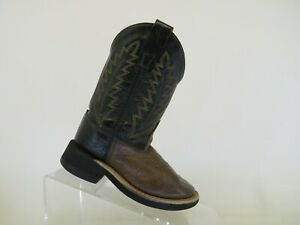 Old West Black Brown Leather Cowboy Western Boots Little Kids Youth Size 9 D