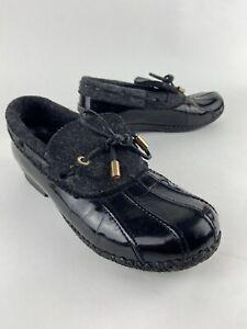 Tory Burch Mathew Duck Boots - Hunter Black Patent Leather, size 8.5, Wool Upper