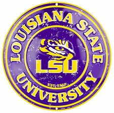 "Louisiana State University LSU Tigers Embossed Metal 12"" Circle Sign"