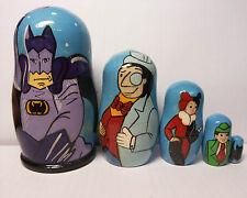 Batman Superhero Animated Comic Cartoon Movie Matryoshka Wood Nesting Dolls 5pc