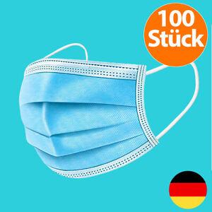 100 St. Mund-Nasen-Maske Mundschutz Filtermaske Gesichts-Maske 3-lagig