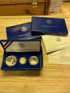 1986 Proof Set-STATUE OF LIBERTY~ 3 COIN SET ~ $5 GOLD; SILVER DOLLAR , HALF,
