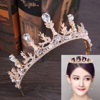 Baroque Crystal Rhinestone Crown Rose Gold Party Wedding Bridal Tiaras Headband