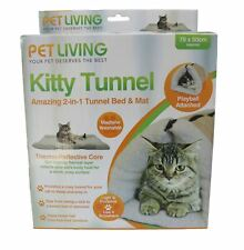 Pet Living Kitty Cabin 2 in 1 Tunnel Cat Mat and Bed With Play-Ball Attached
