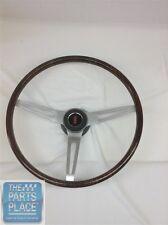 69-72 Cutlass Walnut Wood Steering Wheel Kit 3 Spoke Brushed - Olds Center Cap