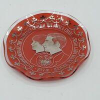 Prince Charles & Diana Royal Wedding Souvenir Dish/Ashtray Red Vintage England