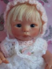 """Tiny OOAK 6"""" Handsculpted Polymer Clay Baby Girl Doll Melody Hess Resell"""
