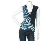 ROBERTO CAVALLI Blue Zebra Print Sleeveless Top, Size 38 6 - EUC