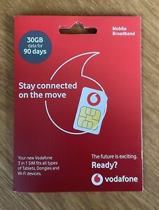 Vodafone 30GB Data Sim - 90 Day - Tablets, Dongles, Wi-fi Device.