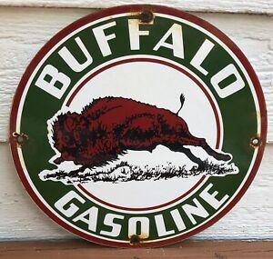 VINTAGE GREEN BUFFALO GASOLINE PORCELAIN SERVICE GAS STATION PUMP SIGN