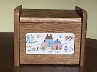 VINTAGE COUNTRY FARM SCENE Wooden Recipe Box with hanging mount