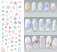 Christmas Nail Art Water Decals Transfers Snowflakes Snow Blue Pretty Pink YE488