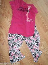 Pink Panther Sleep Wear Set Tank Top & Capris Cartoon Pajamas size large