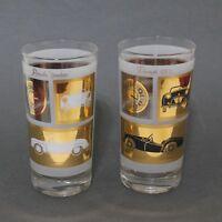 Vtg Luxury Sports Car Drinking Glasses Porsche Jaguar Triumph Morgan Barware