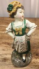 Borghese Chalk Figurine Antique Girl Peasant Posing Green Irish Darling AS IS