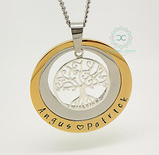 Personalised Jewellery, Personalised Necklace, Family Gold Silver Tree of Life