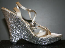 silver glitter chunky platform shoes 70s disco Y2K space halloween prom heels