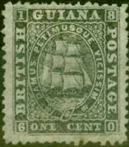 British Guiana 1862 1c Black SG51var on Thinner Pelure Paper Fine Unused