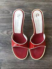 Casadei Women's Slip On Heel Sandals Red/White Size 37.5
