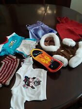 Build A Bear  8 Pieces Shirts Shorts Skate Board Coat Overalls Dress Sweter