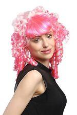 Perücke Damen Fasching Cosplay Gothic Lolita Pink Weiß Barock Spirallocken
