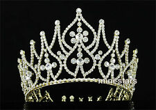 "Bridal Party Pageant Beauty Contest 4.25"" (11 cm) Tall Gold Tiara Crown T1758"