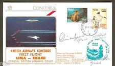 CONCORDE - 1986 BA Lima à Miami FIRST FLIGHT avion équipage signé numéroté couverture