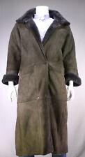* PAUL STUART * Brown Suede Leather w/ Shearling Lined Full Length Coat~ Medium