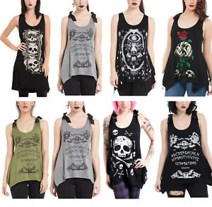 Womens Tank Tops Vest Tshirt Punk Gothic Sweatshirts Alternative Goth S to XL