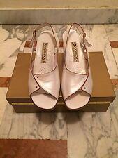 Scarpe Spuntate Sandali Donna Usati Bianco Perla Beige 38 1/2 Quasi Nuove